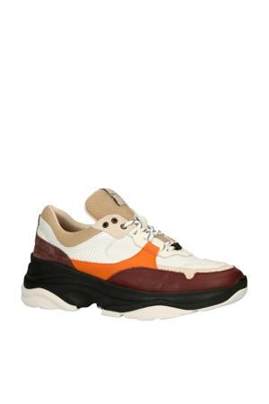 leren chunky sneakers wit/multi