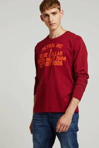 Petrol Industries T-shirt met tekst rood/ oranje, Rood/ oranje