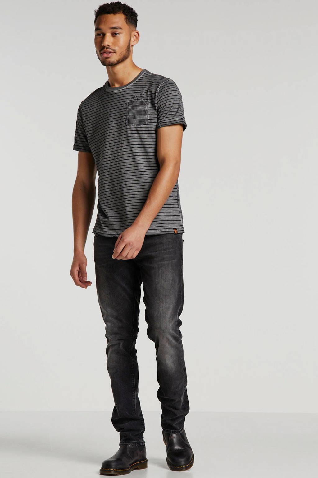 Petrol Industries gestreept T-shirt grijs/zwart, Grijs/zwart