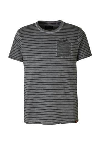 gestreept T-shirt grijs/zwart