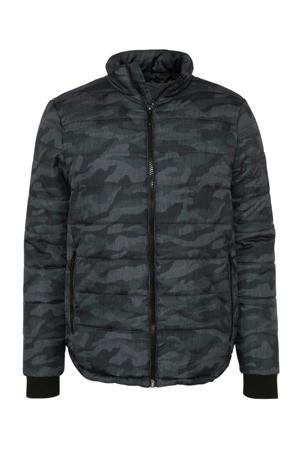 winterjas met camouflageprint grijs