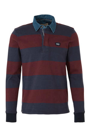 gestreepte regular fit polo donkerblauw/rood