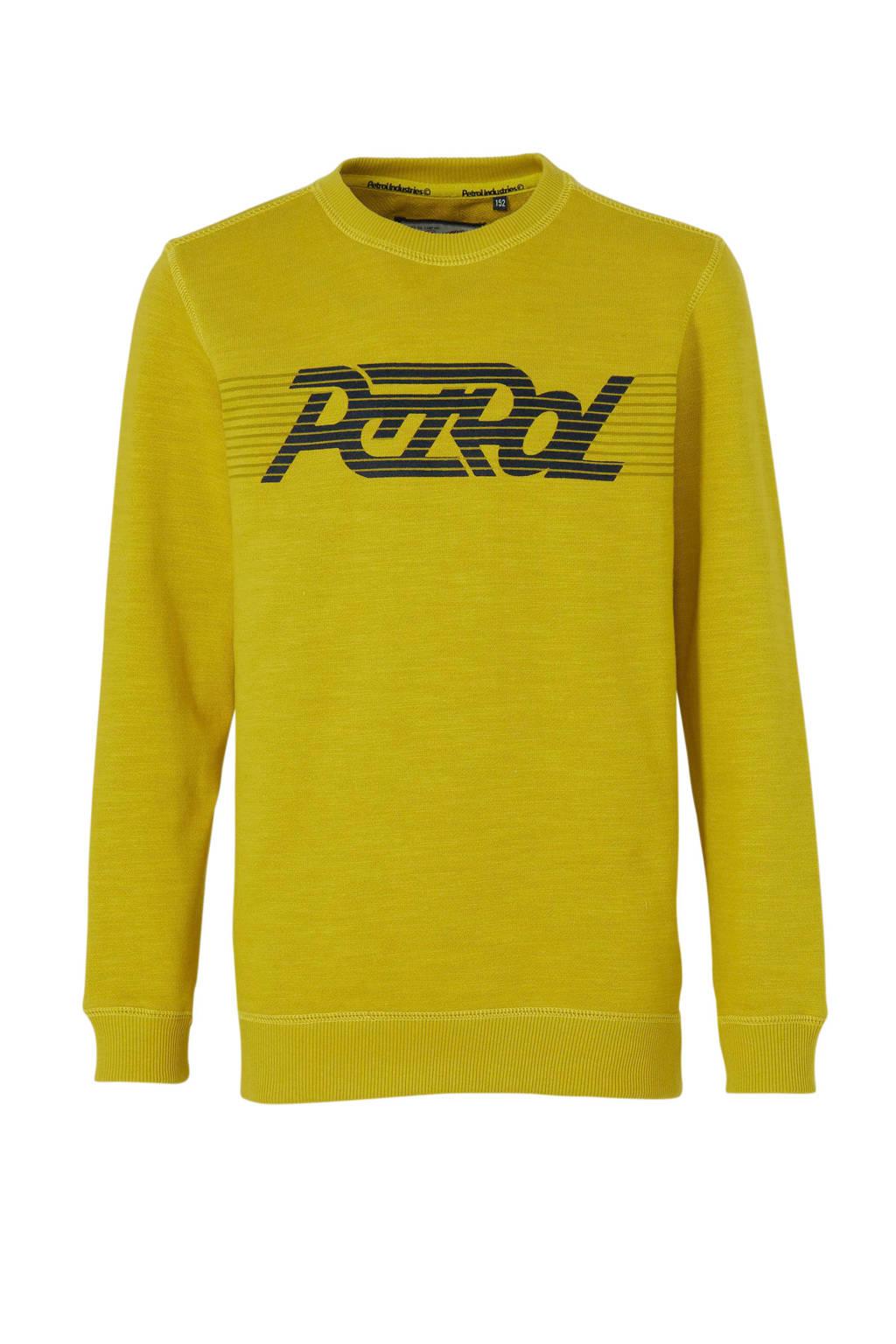 Petrol Industries sweater met logo geel, Geel