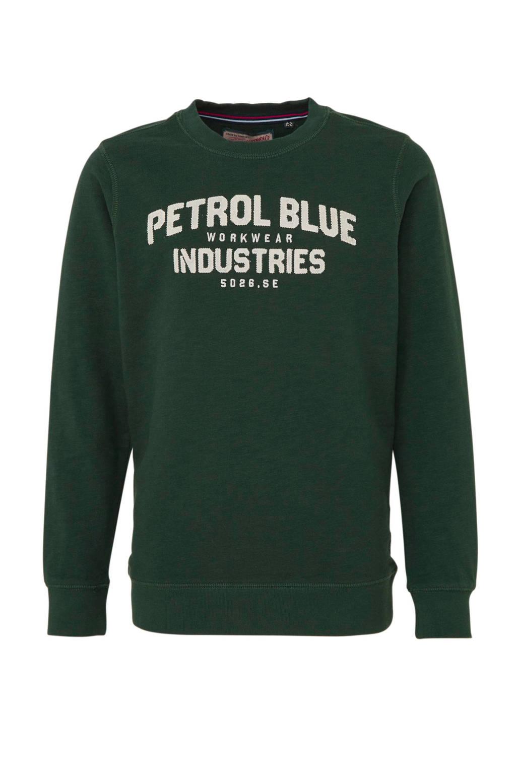 Petrol Industries sweater met tekst donkergroen, Donkergroen
