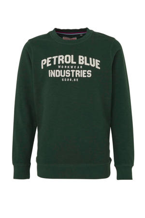 sweater met tekst donkergroen