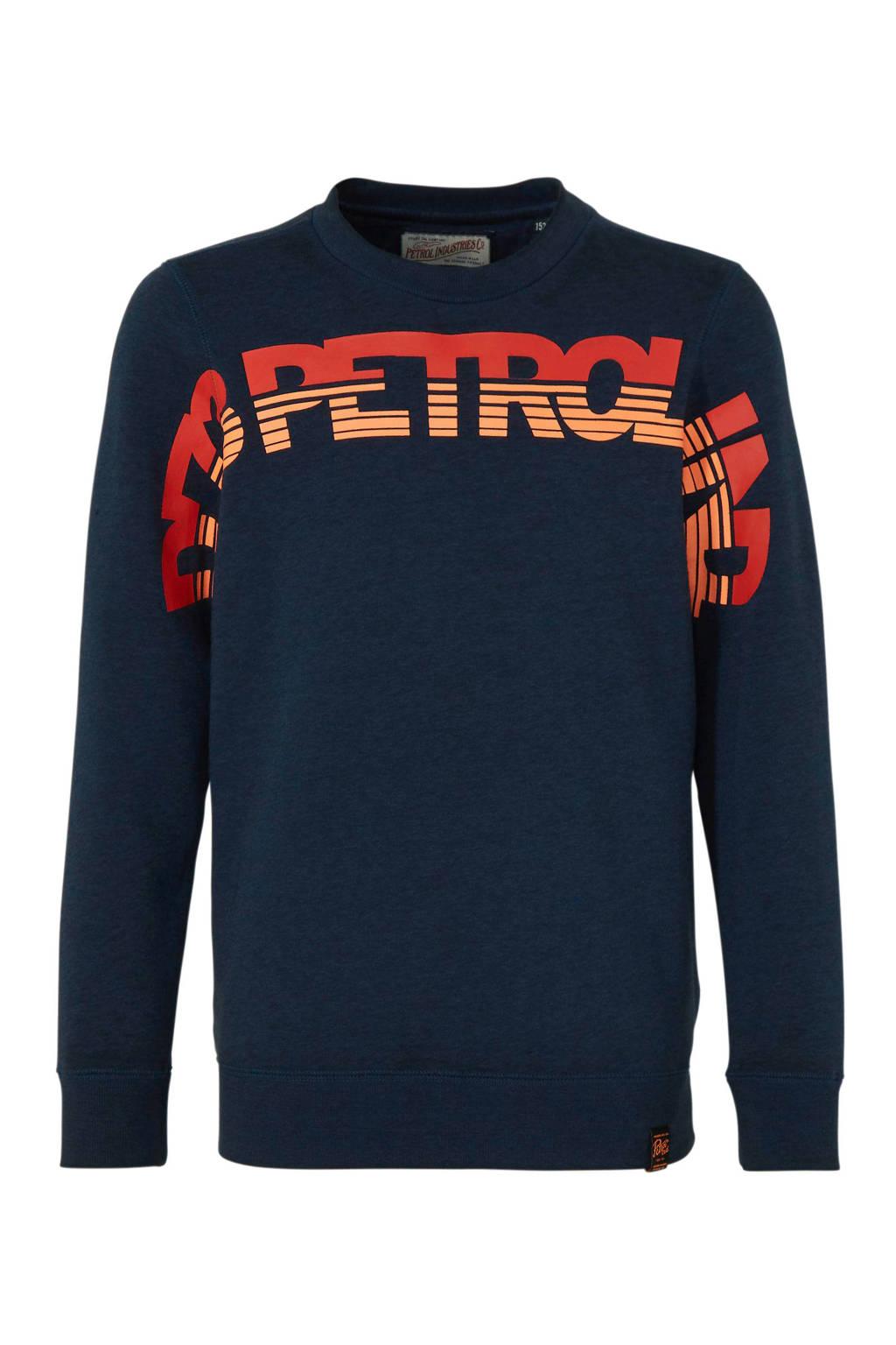 Petrol Industries sweater met tekst donkerblauw, Donkerblauw