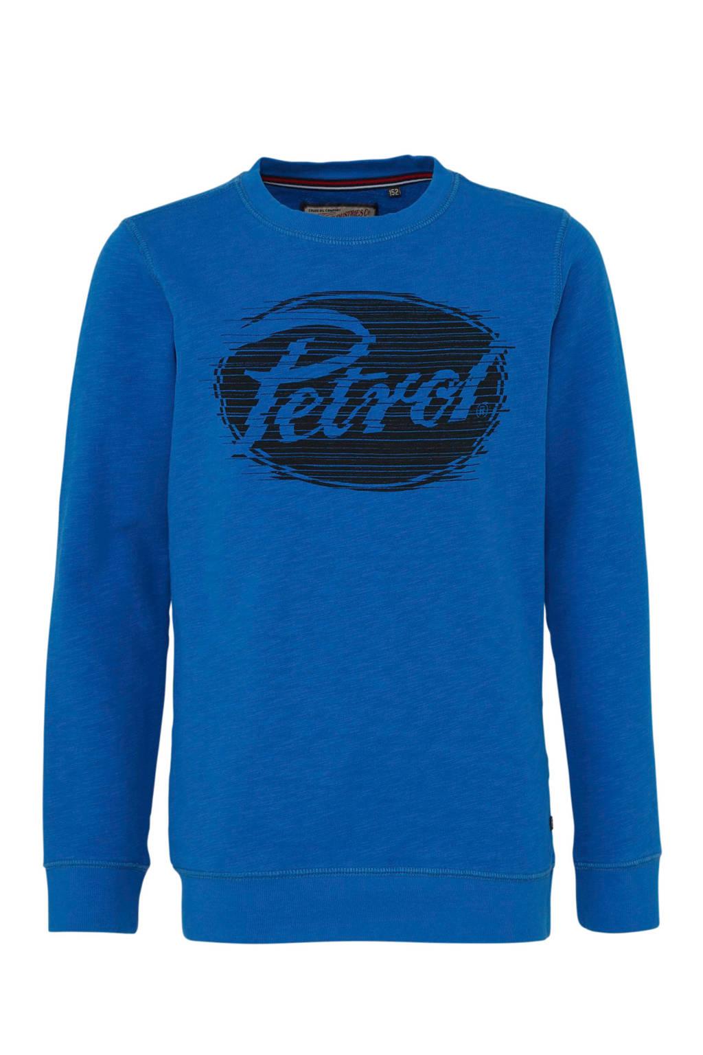 Petrol Industries sweater met logo kobaltblauw, Kobaltblauw
