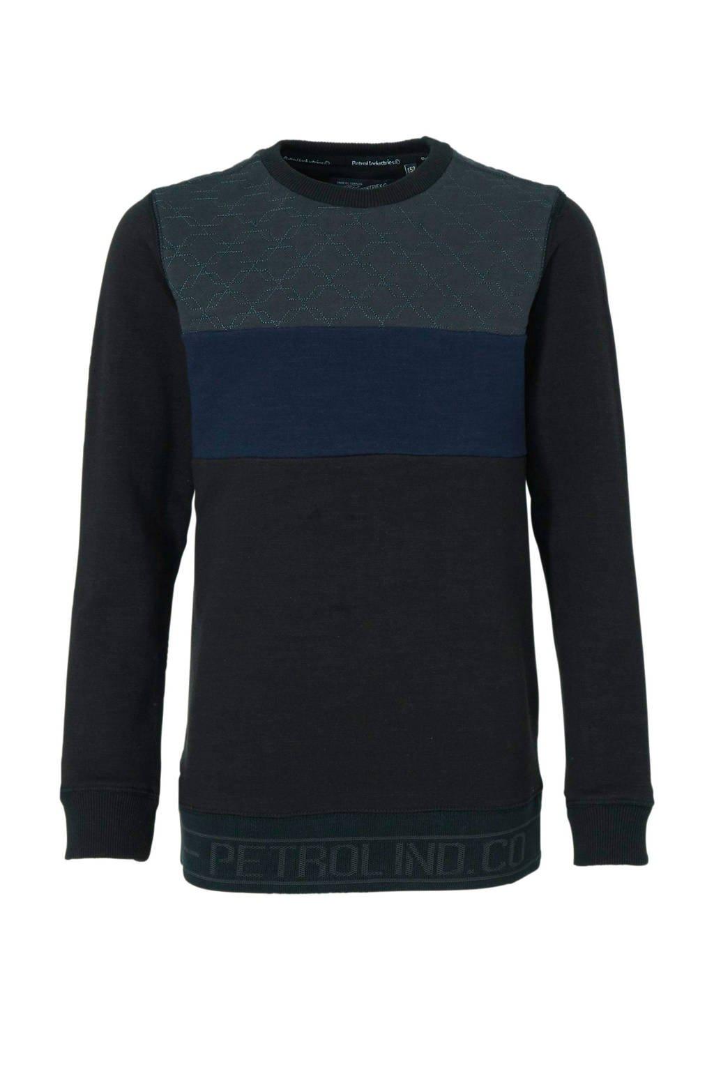 Petrol Industries sweater met all over print zwart/blauw, Zwart/blauw