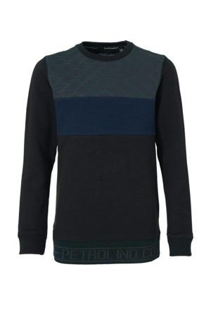 sweater met all over print zwart/blauw