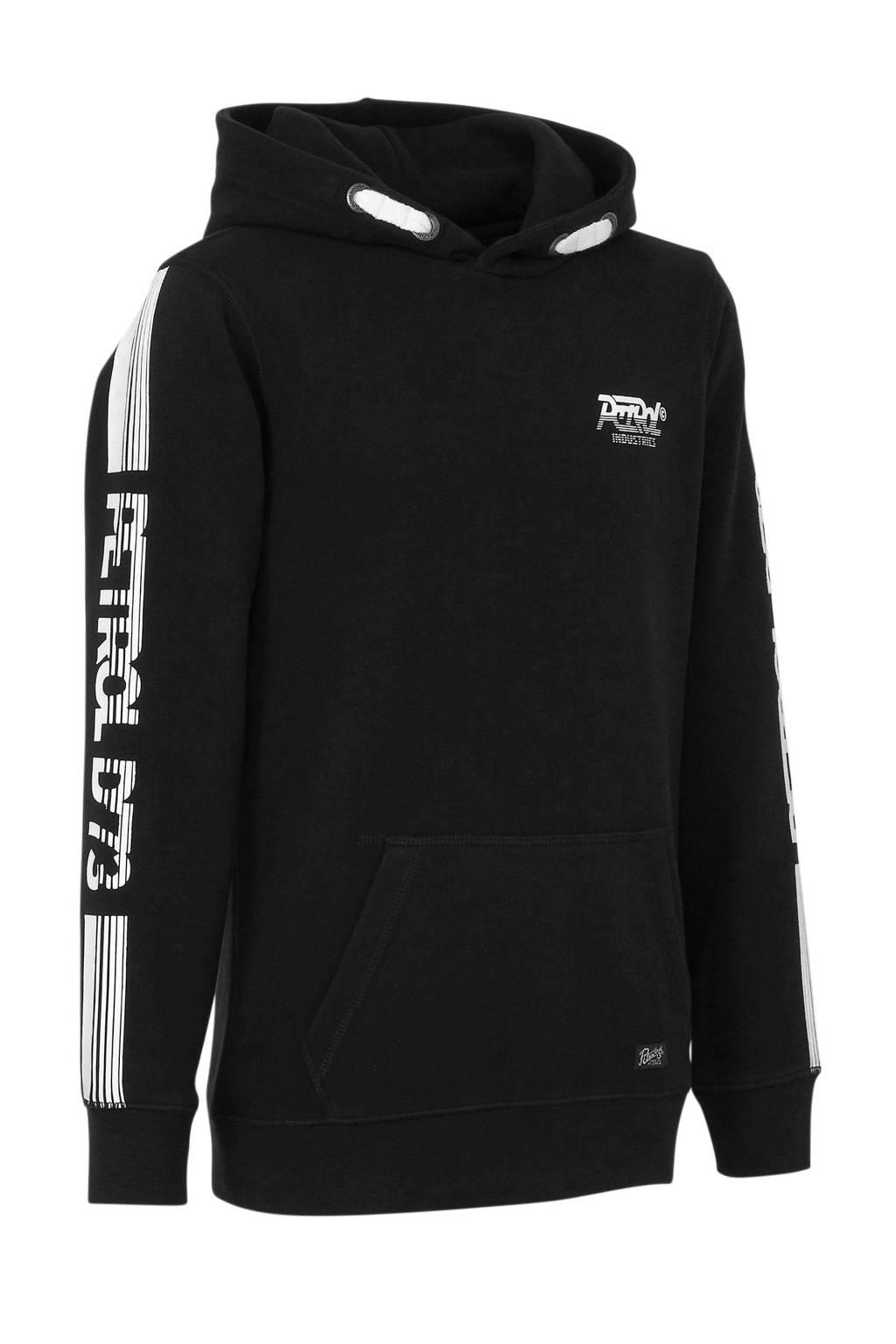 Petrol Industries hoodie met logo zwart, Zwart