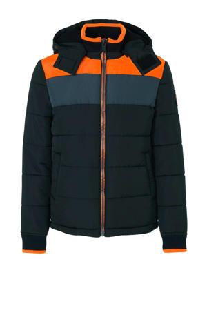 winterjas zwart/oranje