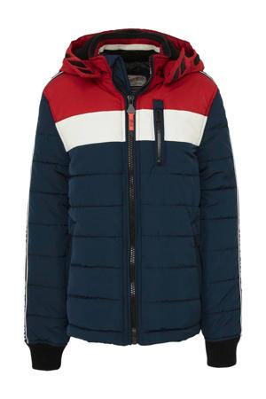 winterjas donkerblauw/rood/wit