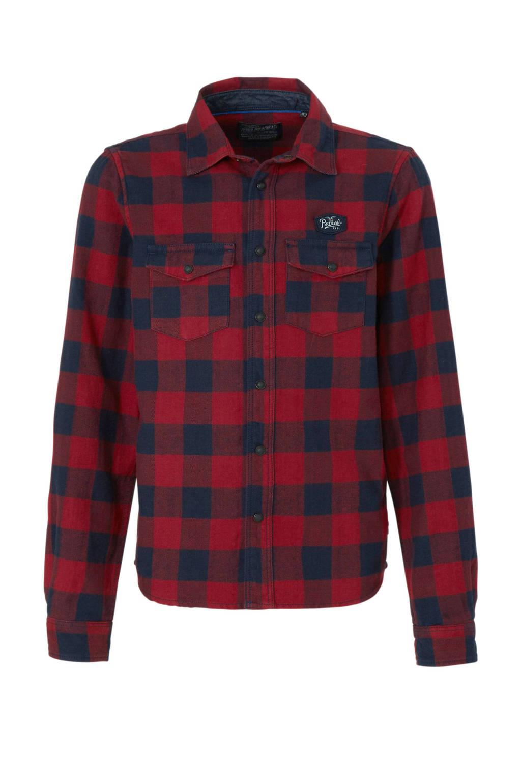 Petrol Industries geruit overhemd rood/zwart, Rood/zwart