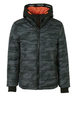 winterjas met camouflageprint donkergrijs