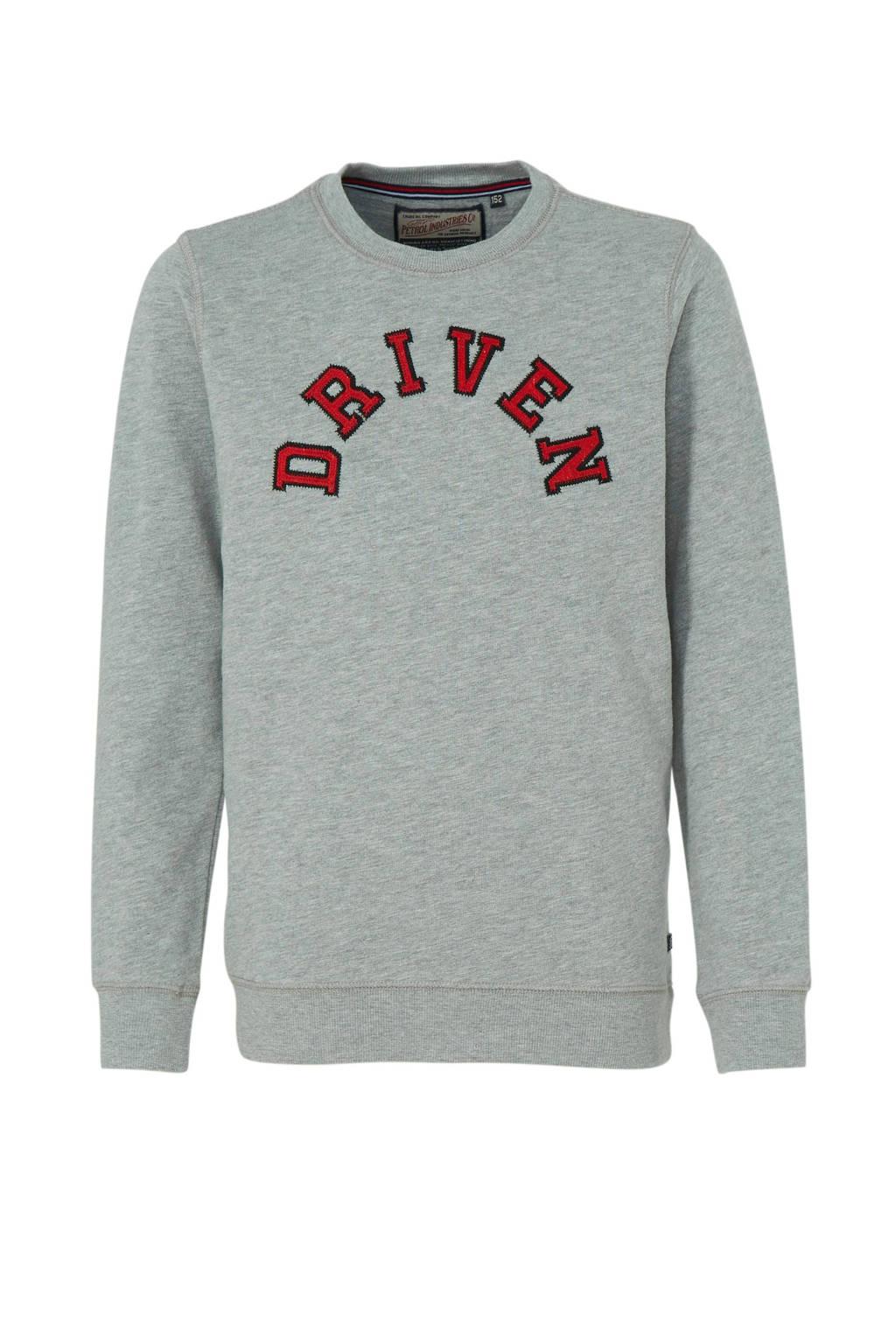 Petrol Industries sweater met tekst lichtgrijs melange, Lichtgrijs melange