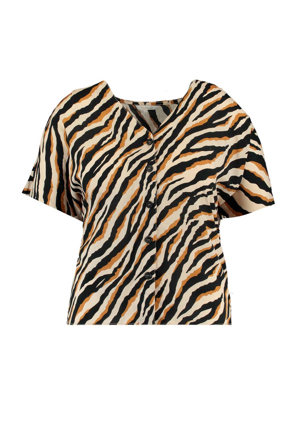 MS Mode blouse met zebraprint beige/zwart, Beige/zwart