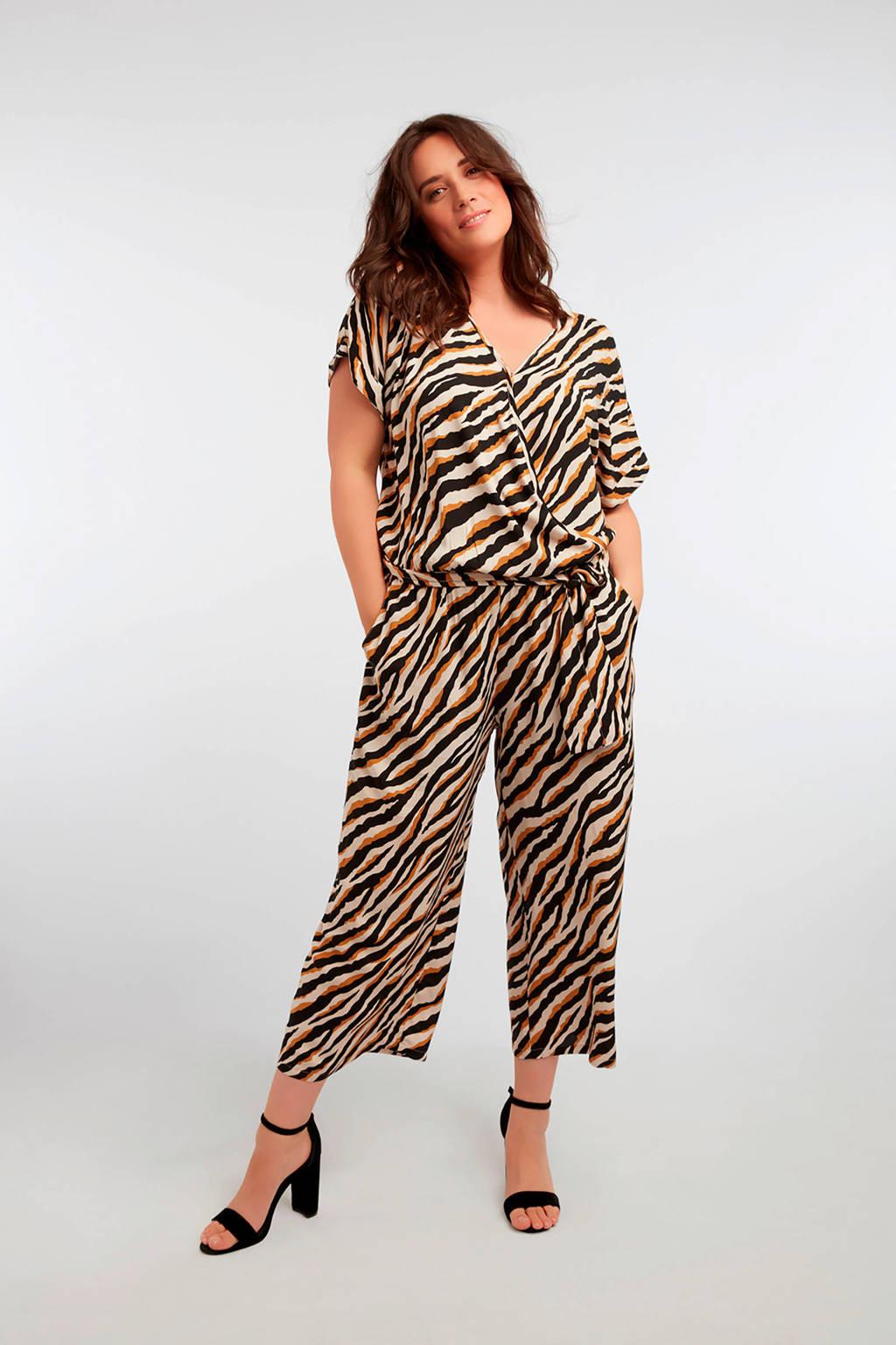 MS Mode jumpsuit met zebraprint beige/zwart, Beige/zwart