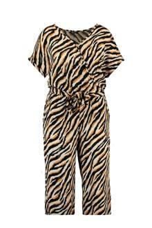 jumpsuit met zebraprint beige/zwart