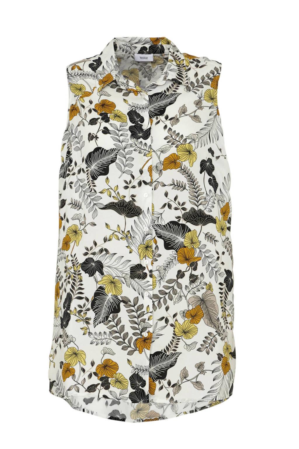 C&A XL Yessica gebloemde blouse wit/zwart/geel, Wit/zwart/geel