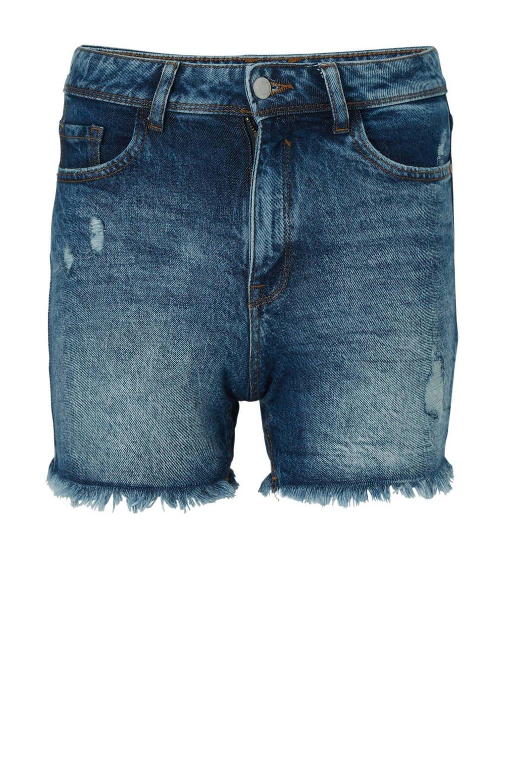 C&A Clockhouse high waist slim fit jeans short met slijtage, Stonewashed