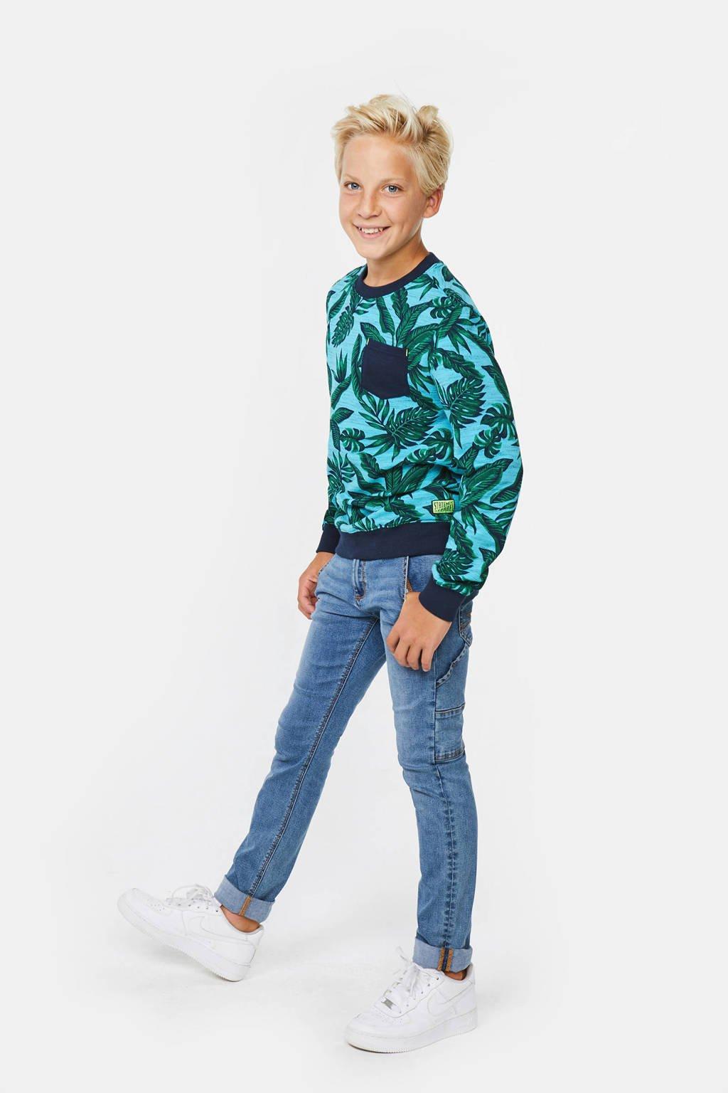 WE Fashion sweater met bladprint blauw/donkergroen/donkergroen, Blauw/donkergroen/donkergroen