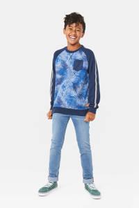 WE Fashion sweater met bladprint donkerblauw/blauw, Donkerblauw/blauw