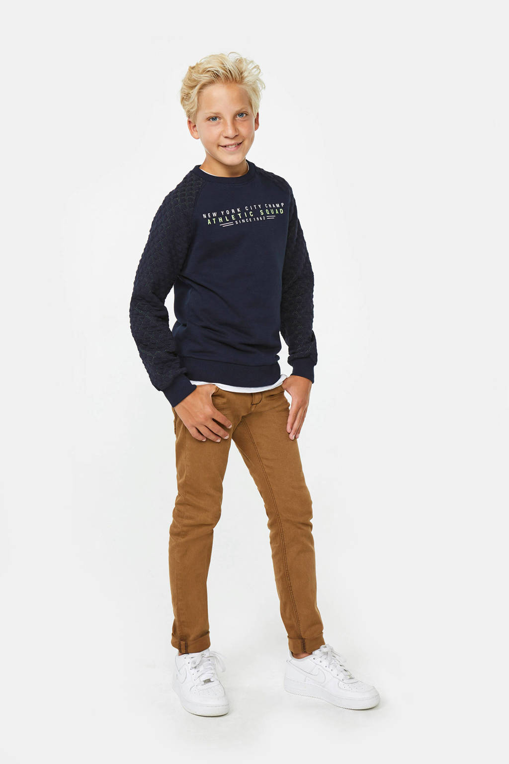 WE Fashion sweater Quilted met tekst donkerblauw, Donkerblauw