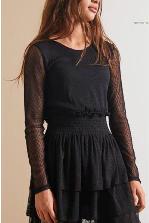 jurk met stippen en ruches zwart