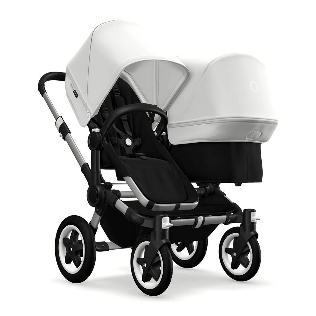Bugaboo Donkey 2 Duo kinderwagen zwart - wit met aluminium frame, Aluminium/zwart/wit