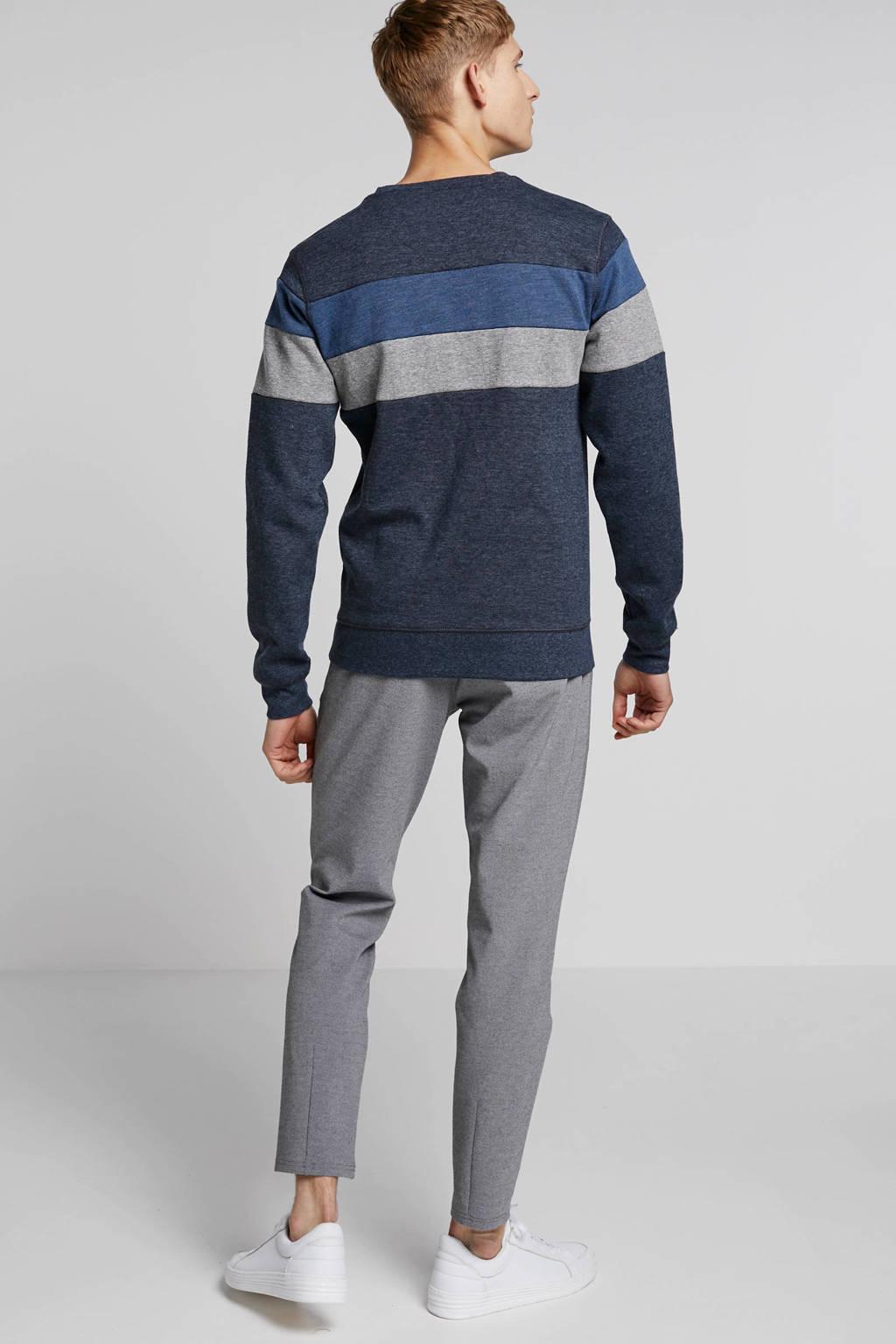 Petrol Industries sweater met tekstafdruk blauw, Blauw/grijs/wit