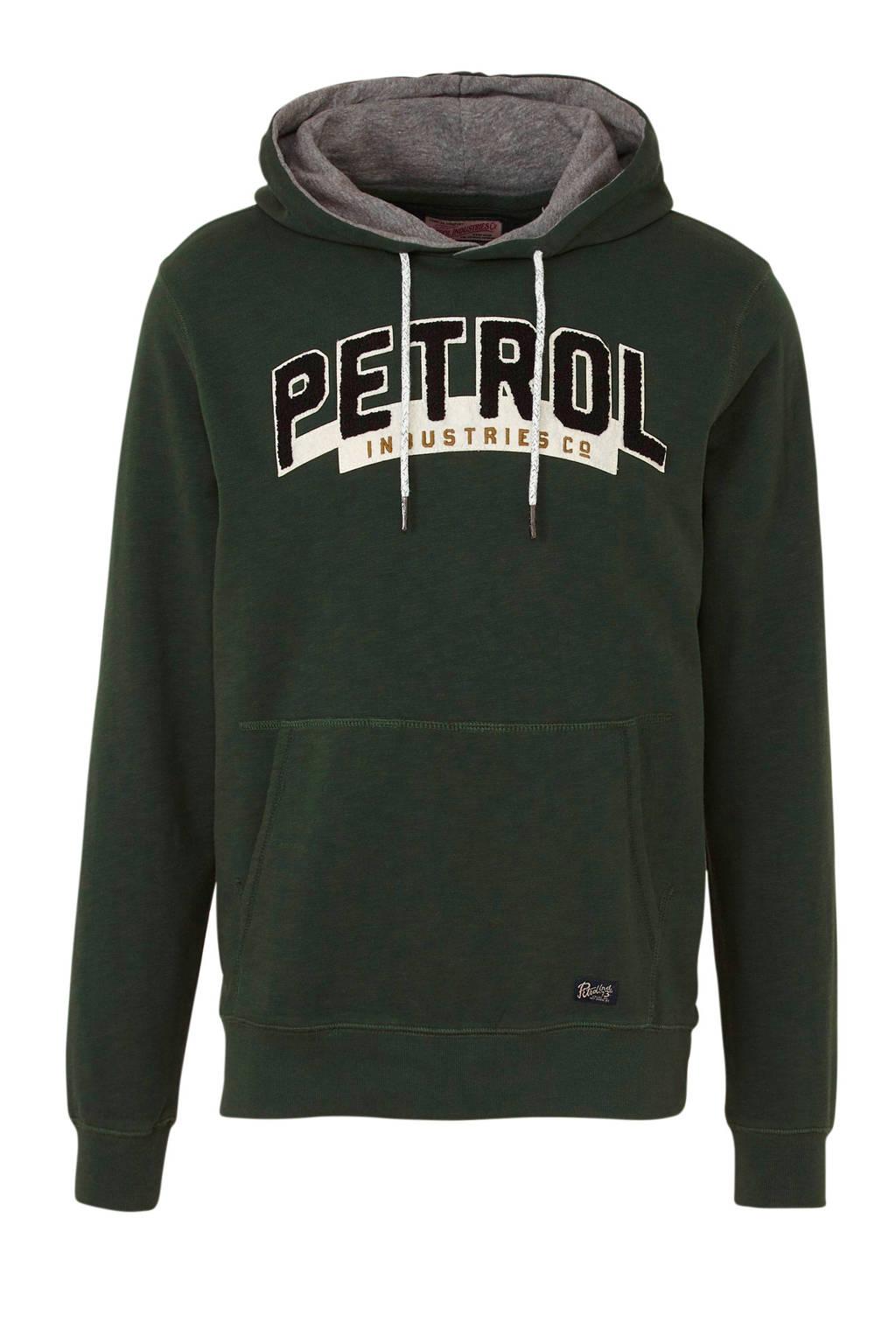 Petrol Industries hoodie met tekst donkergroen, Donkergroen