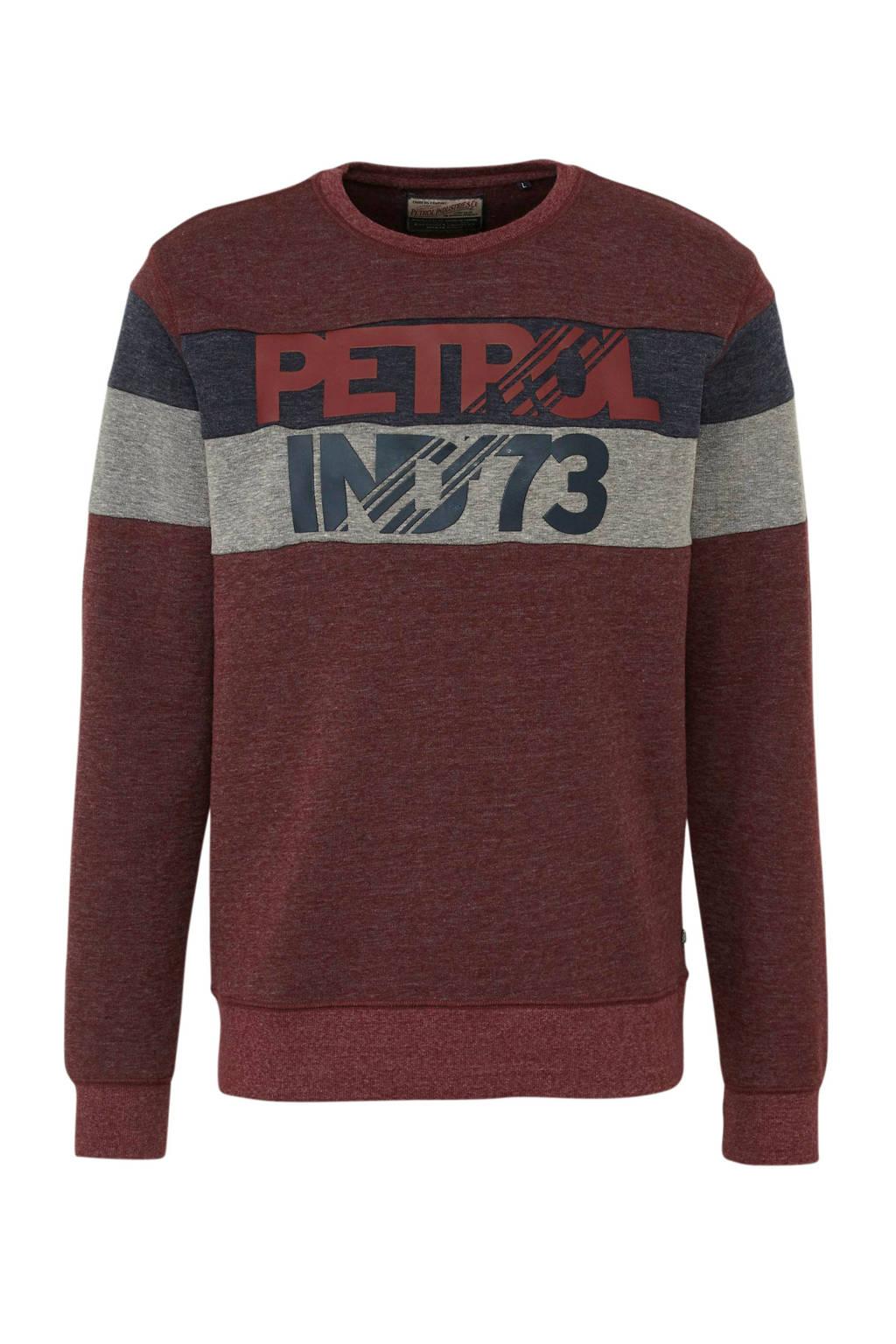 Petrol Industries sweater met tekst donkerrood, Donkerrood