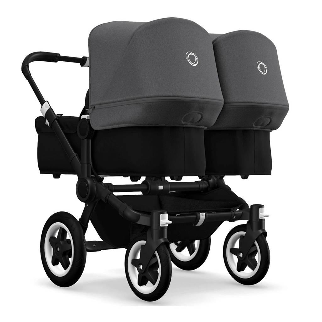Bugaboo Donkey 2 Twin kinderwagen zwart - grijs met zwart frame, Zwart/grijs