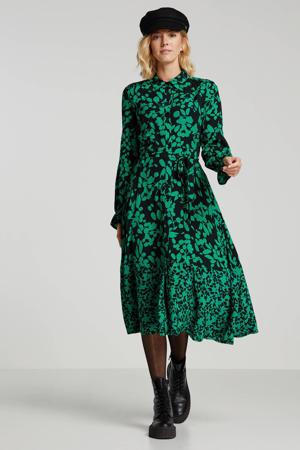 blousejurk met all over print en ceintuur groen/zwart