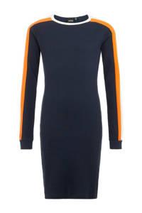 LMTD maxi jurk van biologisch katoen donkerblauw/wit/oranje, Donkerblauw/wit/oranje