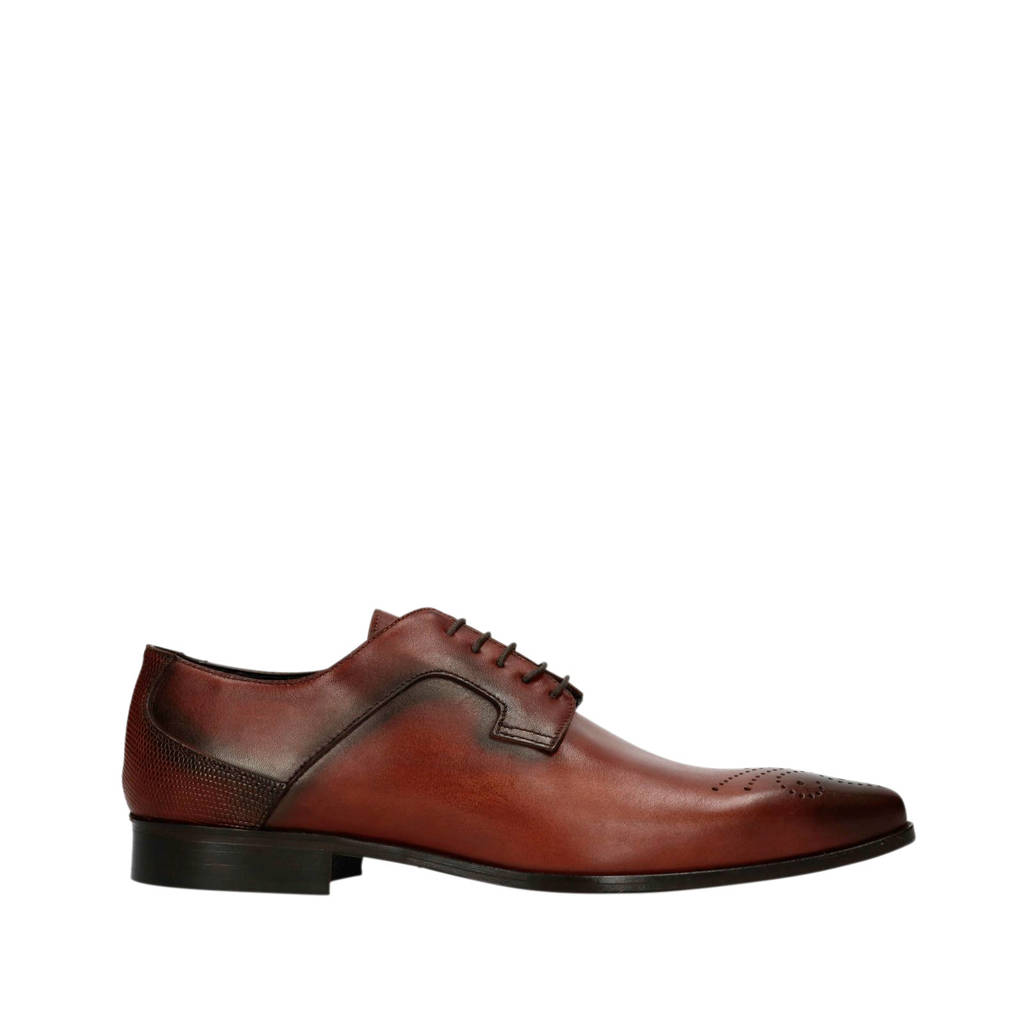 Manfield Black Label   leren veterschoenen cognac, Cognac