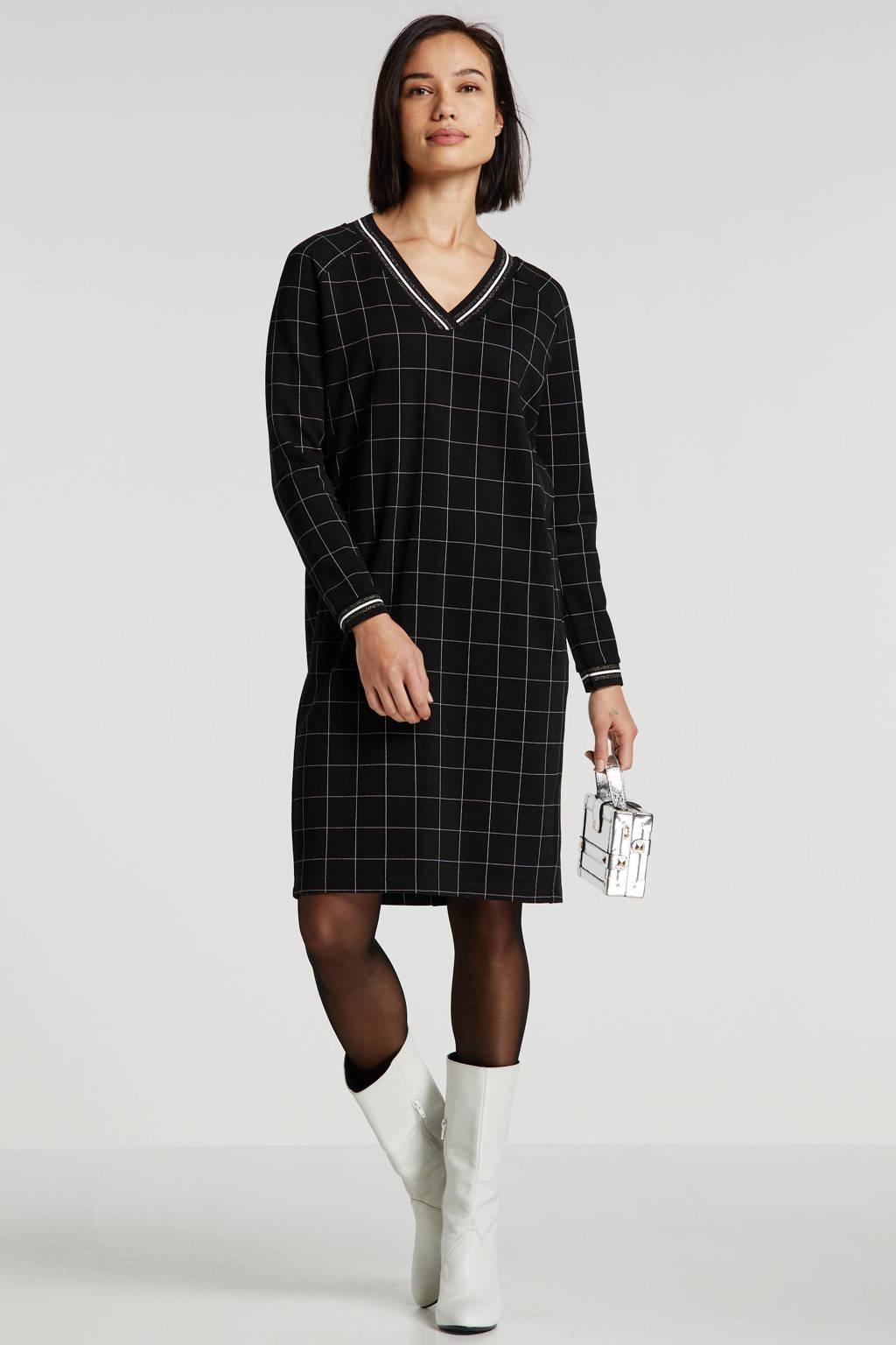 Sandwich geruite jersey jurk zwart/ecru, Zwart/ecru