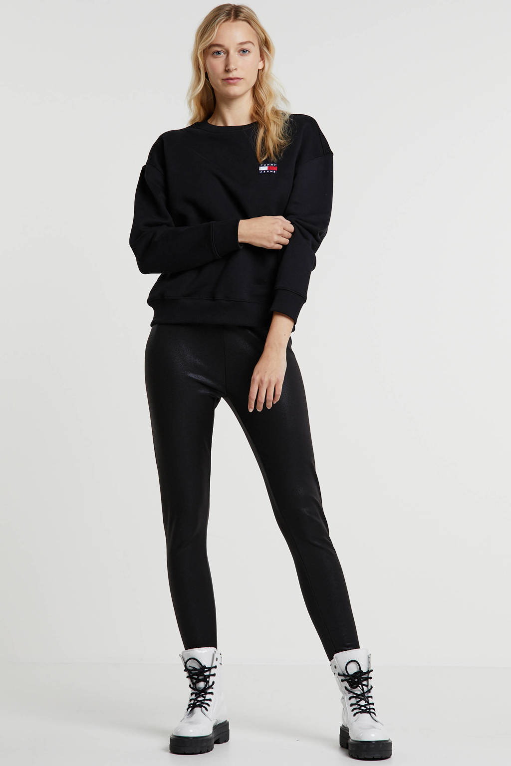 Sandwich coated legging zwart, Zwart