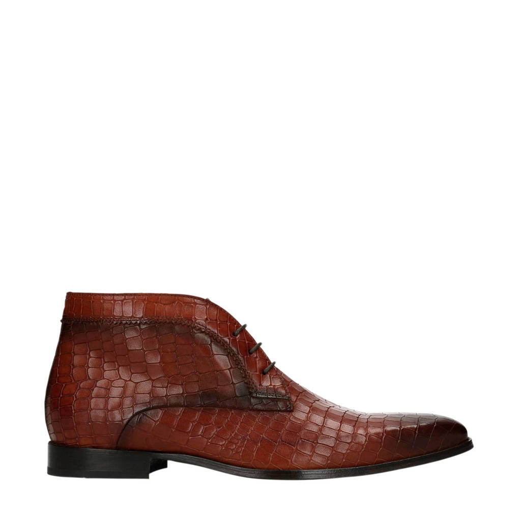 Manfield Black Label   leren veterboots crocoprint cognac, Cognac/bruin