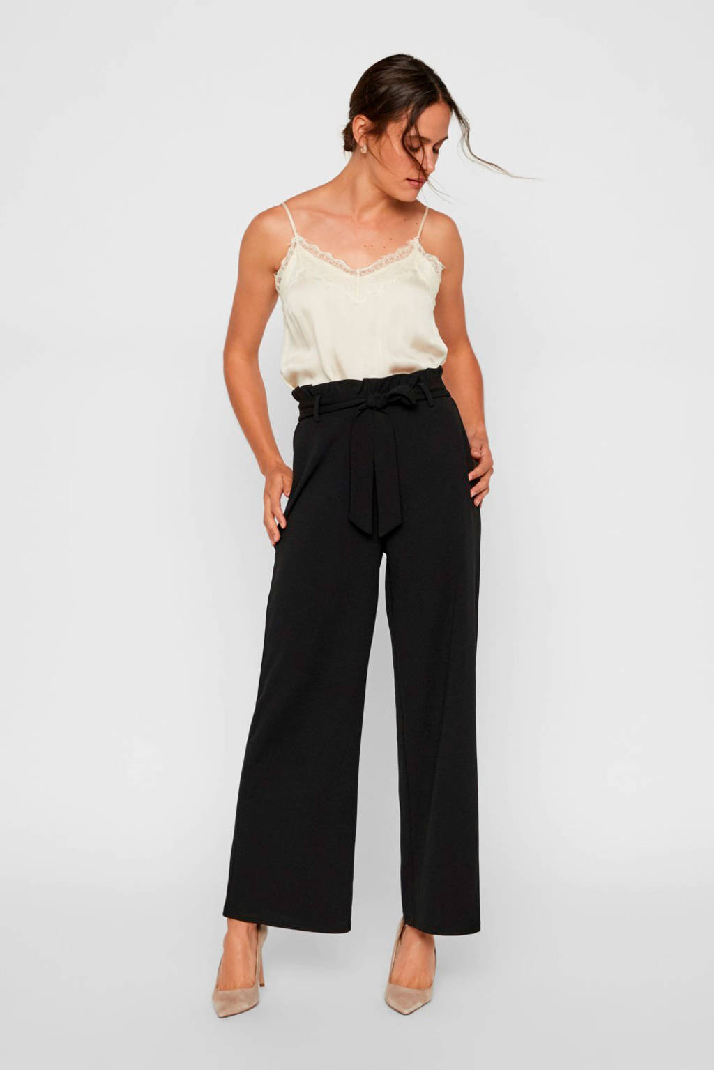 VERO MODA high waist loose fit broek zwart, Zwart