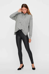VERO MODA coated skinny broek zwart, Zwart