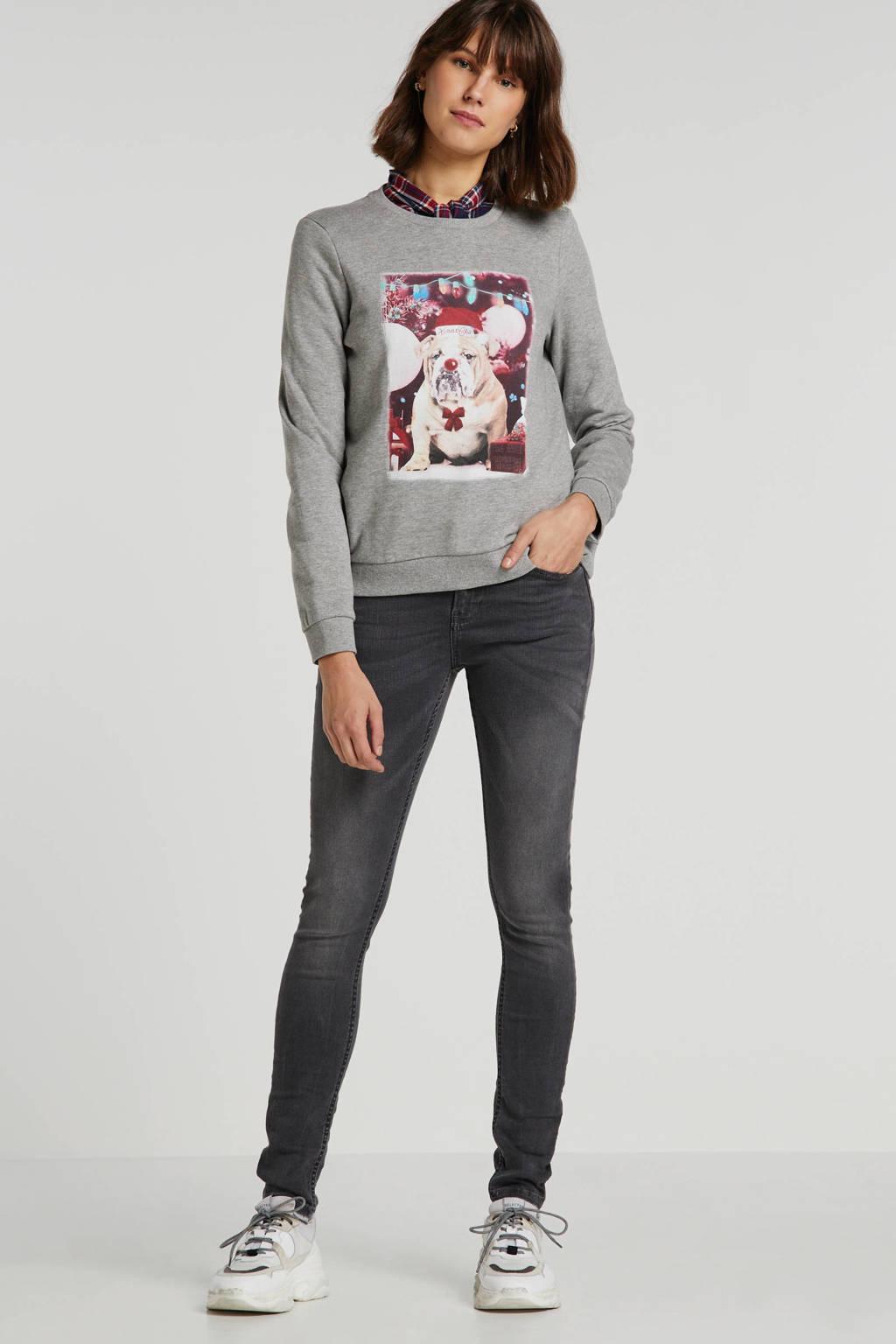 VERO MODA kerstsweater met dierenprint grijs, Grijs