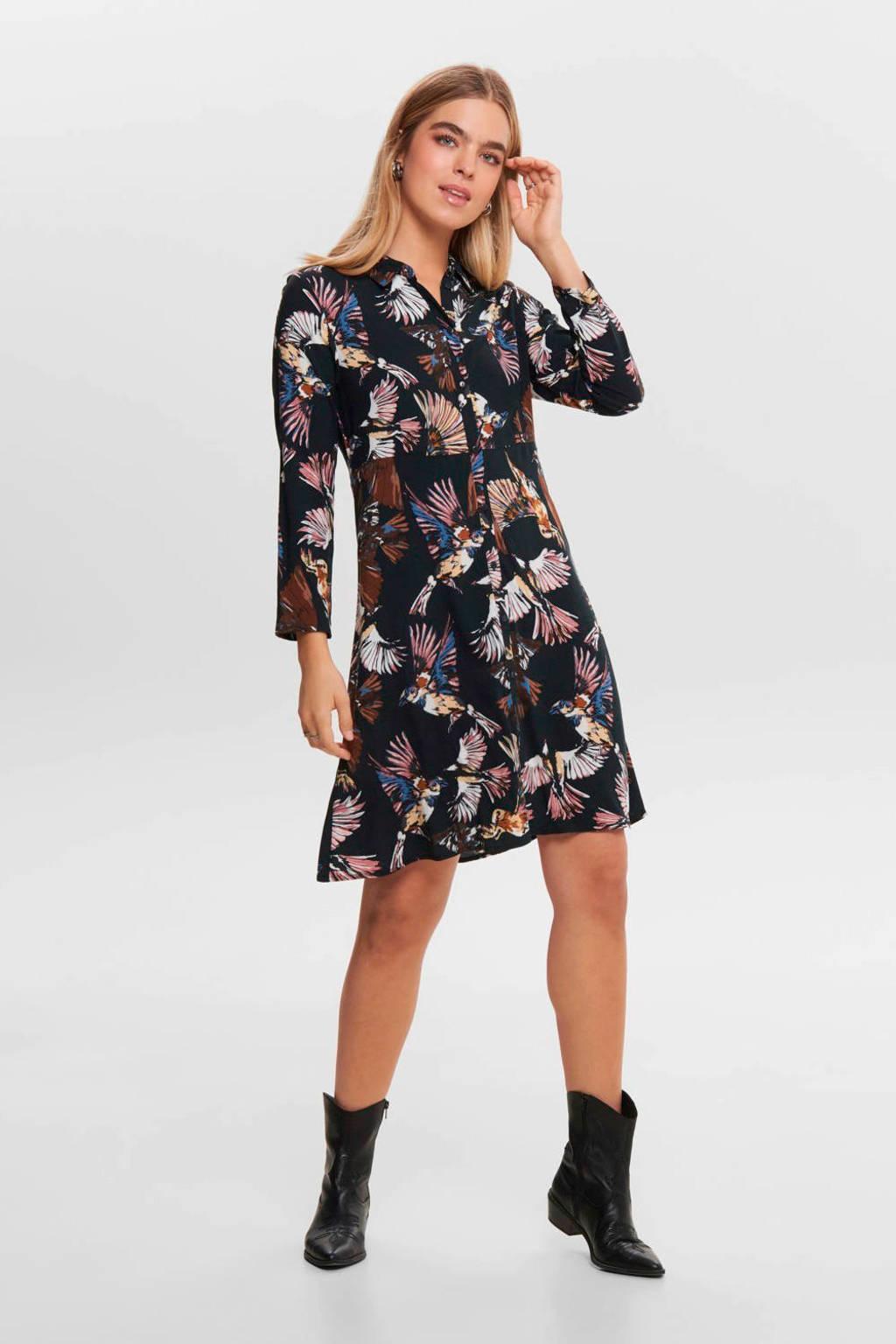 JACQUELINE DE YONG jurk met all over print zwart, Zwart