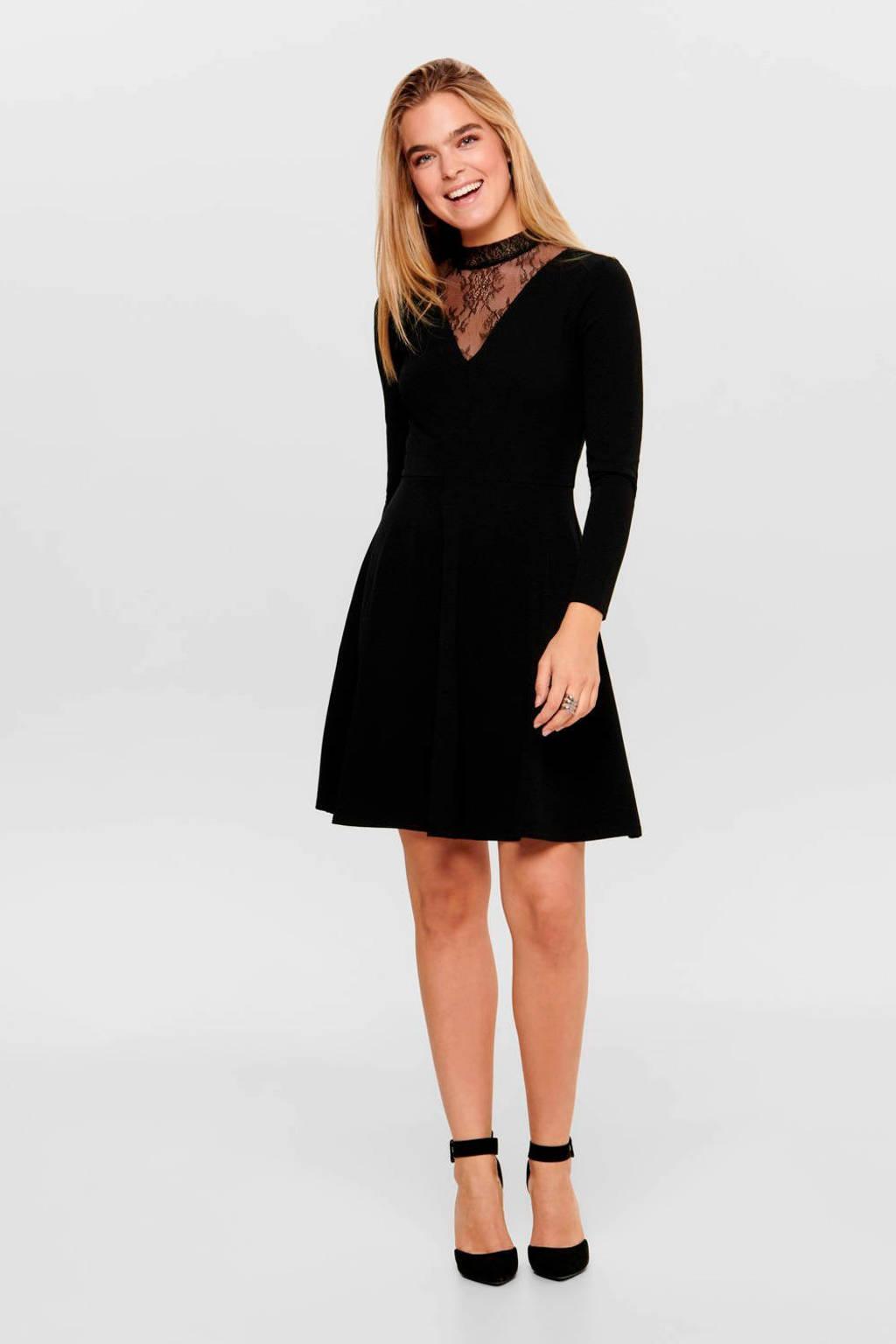 JACQUELINE DE YONG A-lijn jurk met kant zwart, Zwart