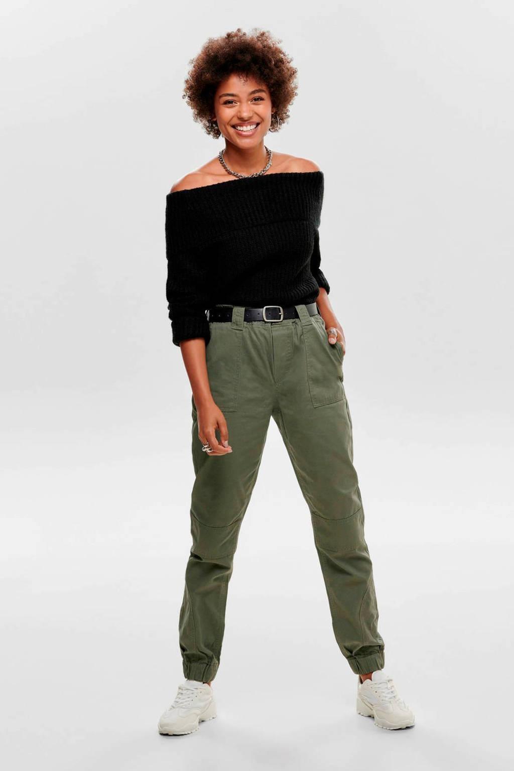 JACQUELINE DE YONG tapered fit broek kaki, Kaki