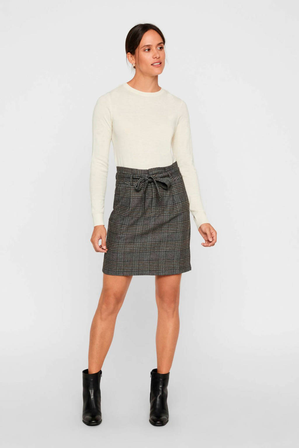 VERO MODA geruite rok grijs/zwart, Grijs/zwart