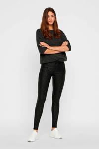 VERO MODA coated skinny broek met slangenprint zwart, Zwart