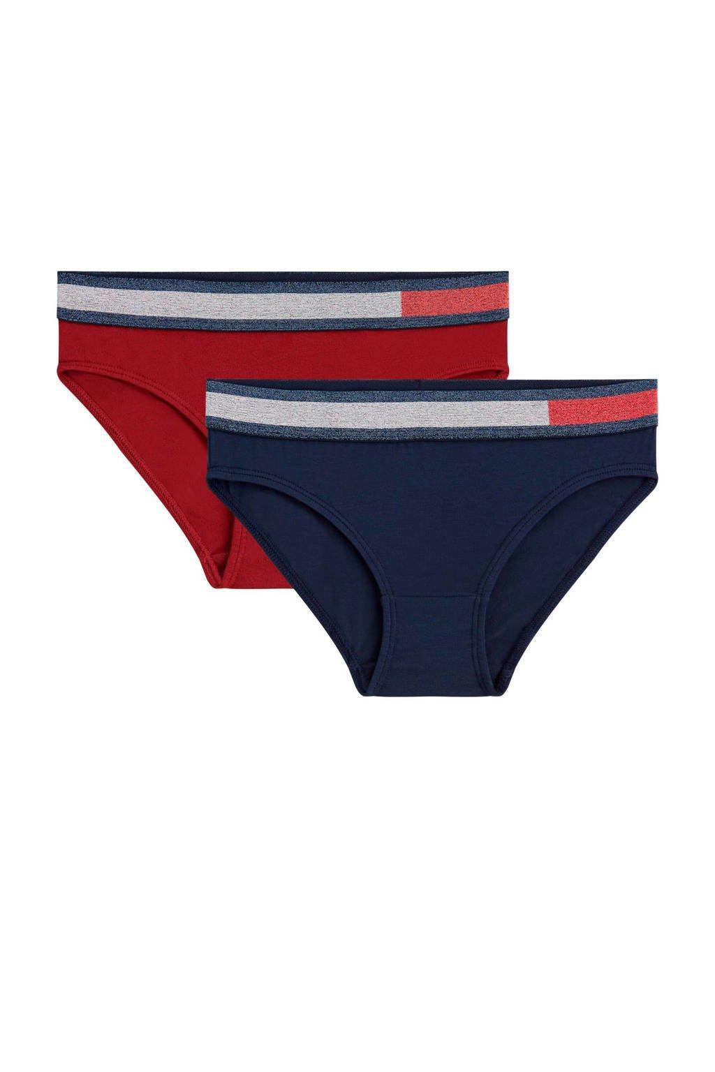 Tommy Hilfiger bikini slip - set van 2 donkerblauw/rood, Donkerblauw/rood