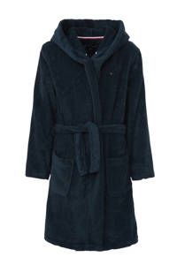Tommy Hilfiger   badjas met logo borduursel donkerblauw, Donkerblauw