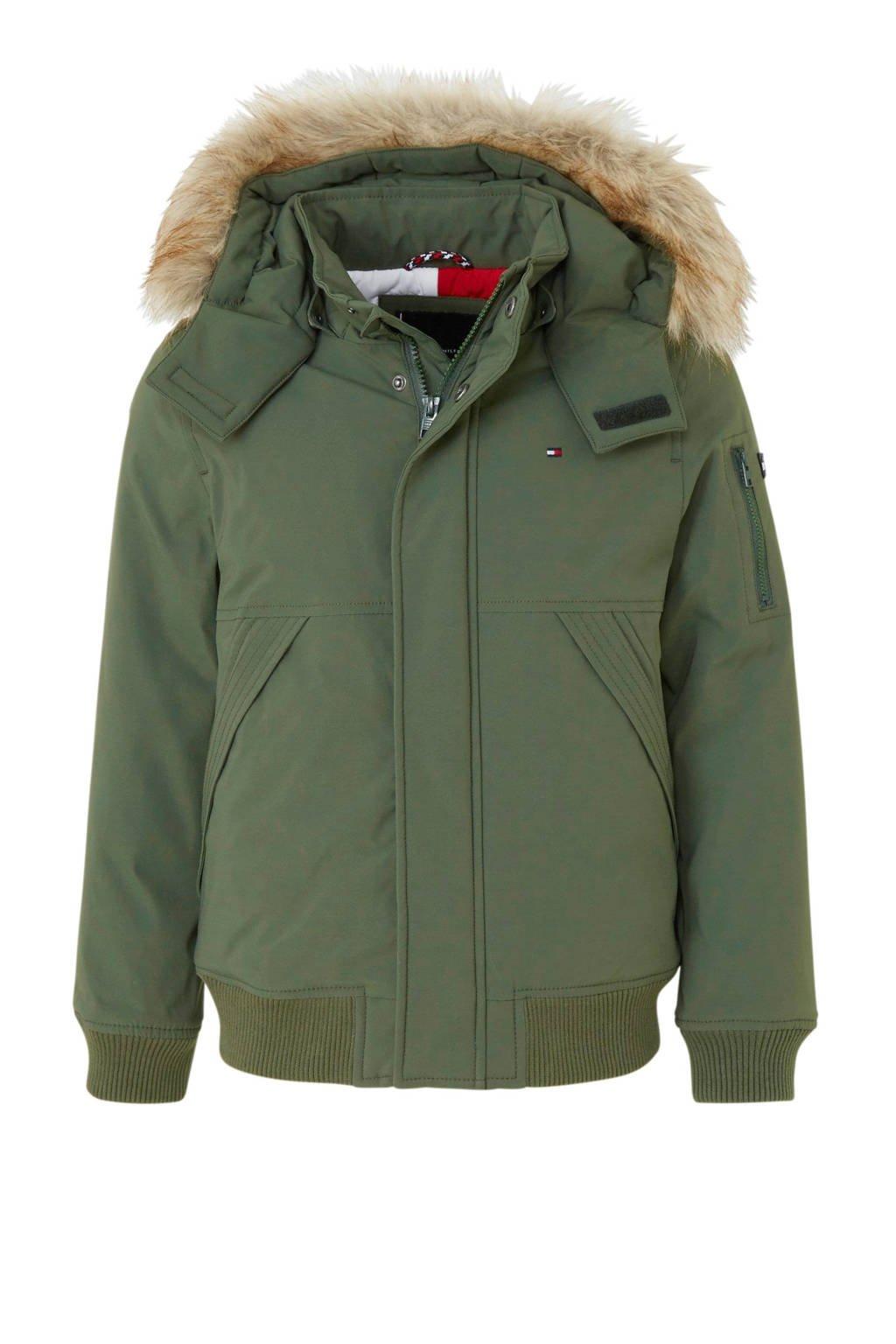 Tommy Hilfiger winterjas met capuchon met imitatiebontrand groen, Groen
